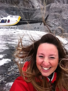 Getting out the helicopter at the glacier!